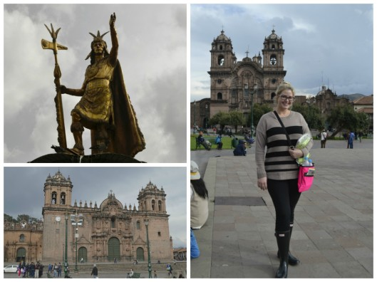 (Clockwise) Statue to Pachacuti,Sapa Inca, Church of la Compañía de Jesus and Facade of the Iglesia de El Triunfo (Church of The Triumph)
